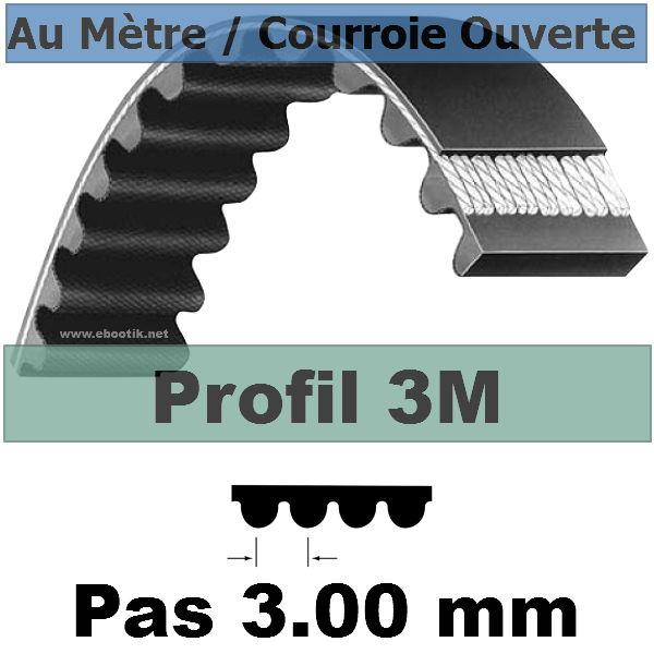 Courroie Crantée/Linéaire 3M06 mm Fibre Verre Vendue au mètre