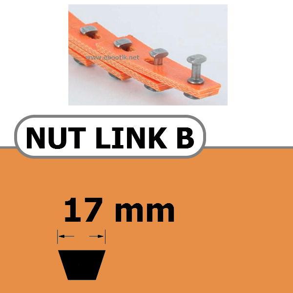 COURROIE TRAPEZOIDALE A MAILLONS NUT LINK AVEC RIVETS METALLIQUE B 17 x 11 mm