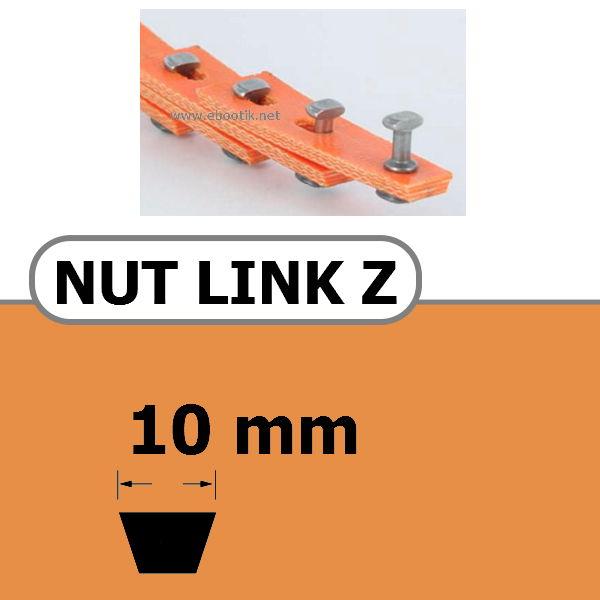 COURROIE TRAPEZOIDALE A MAILLONS NUT LINK AVEC RIVETS METALLIQUE Z 10 x 6 mm